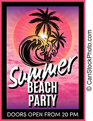 retro poster with summer beach party - retro poster with...
