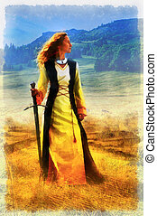 Carefree adorable girl with in fairy field and sword in hand . Summer freedom collage