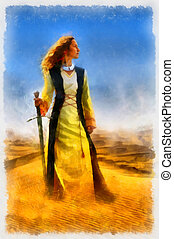Woman with sword in the wilderness computer painting and...