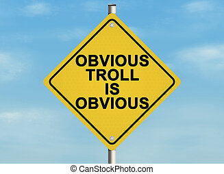 Internet troll issue Road sign on the sky background Raster...