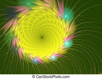 fractal illustration of bright summer sunflowers graphically