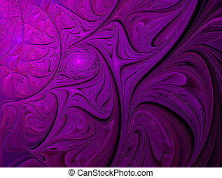 fractal purple ornament yarkiys of the waves and spirals -...