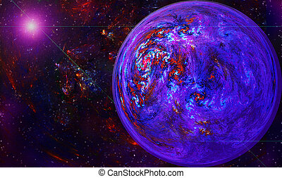 fracta globe with a vortex in space against a background of...