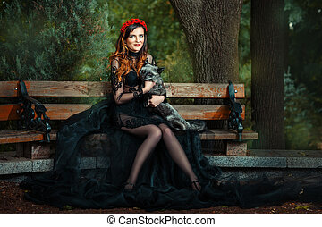 Girl on park bench with a fox - Girl on a park bench with a...