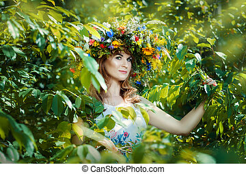 Pretty woman among tree leaves Close-up portrait