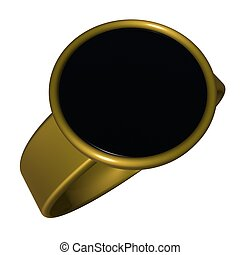Ring - Black and gold ring, 3d render, square image,...