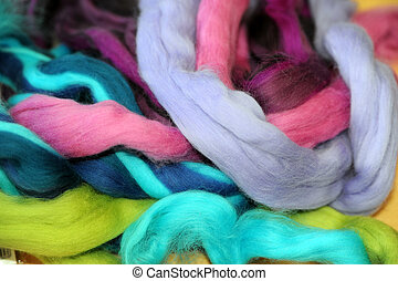 felting wool - colorful ropes of felting wool