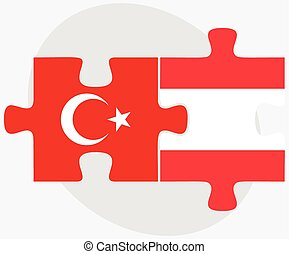 Turkey and Austria Flags in puzzle - Vector Image - Turkey...