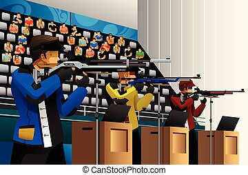 People Shooting with Rifle at a Target in the Competition