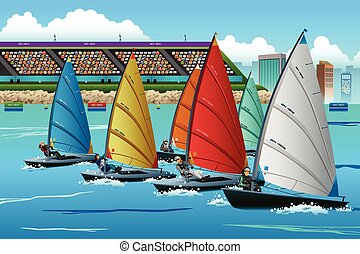 Athletes Sailing in the Competition - A vector illustration...
