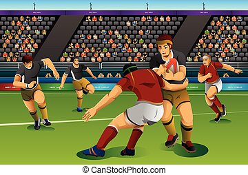 People Playing Rugby Seven in the Competition - A vector...
