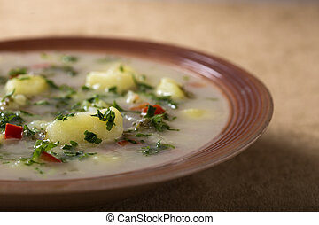 Potatoe Soup - Fresh made Potatoes Soup with cream with...