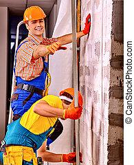 construtor, homens, uniforme