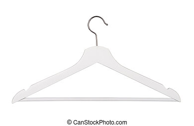 Hanger - White wooden hanger isolated on white