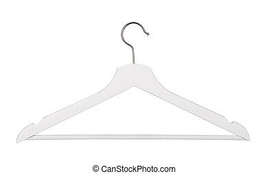 Hanger - White wooden hanger isolated on white