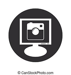 Round square camera monitor icon - Image of square camera on...