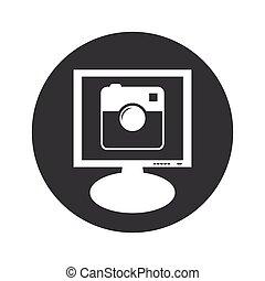 Round square camera monitor icon - Image of square camera on...