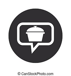 Round pot dialog icon - Image of pot with lid in chat...