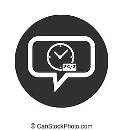 Round overnight daily dialog icon - Clock, text 24 per 7 in...