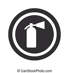 Round black fire extinguisher sign - Image of fire...