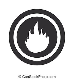 Round black fire sign - Image of flame in circle, on black...