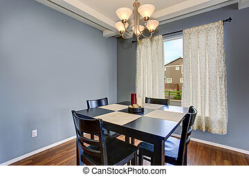 simplistic dinning room with gray walls - Simplistic dinning...
