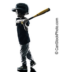 child playing softball players silhouette isolated