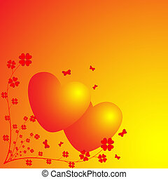 Two hearts on a light background