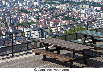 Panoramic view to Grenoble, France from the restaurant of...
