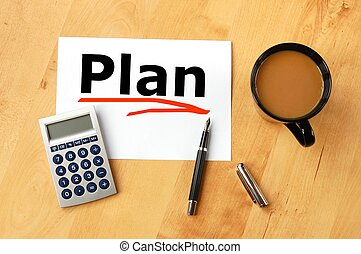 business plan or planning concept with pen paper and coffee