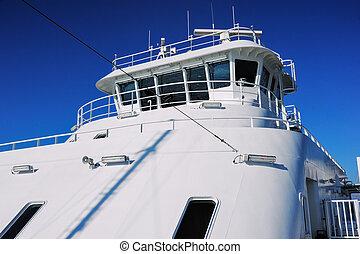 Luxury mega yacht - White yacht under deep blue sky