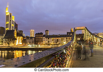 View on Frankfurt am Main in Germany from Eiserner Steg -...