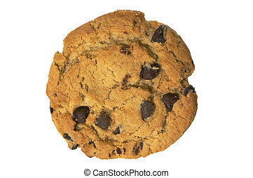 Chocolate chip cookie on white with clipping path -...