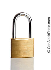 Lock iron closed on a white background with a reflection on...