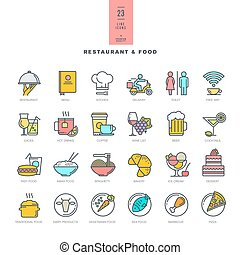 Set of thin line modern color icons - Set of line modern...