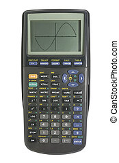 Graphing calculator on white with clipping path - Graphing...