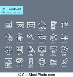 Set of thin line web icons for technology