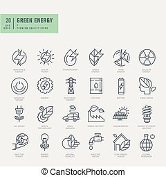 Thin line icons set - Icons for renewable energy, green...