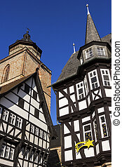 Town Hall and Walpurgiskirche in Old Town in Alsfeld -...