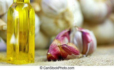 Olive oil and garlic.