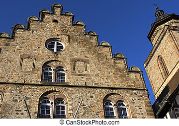 Weinhaus and Walpurgiskirche in Old Town in Alsfeld in...