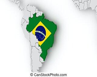 Map of worlds. Brazil. 3d