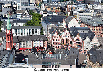 Roembergerg in Frankfurt Main, Germany - Aerial view of the...