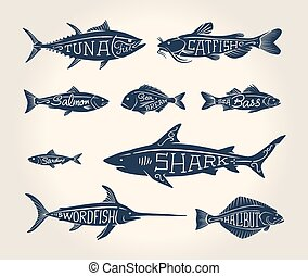Vintage illustration of fish with names in tattoo style over...
