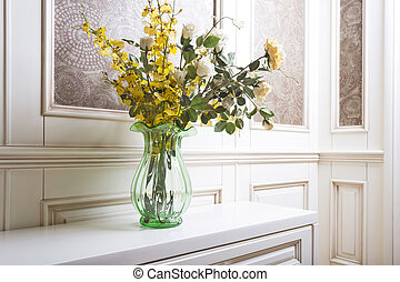 Bouquet of flowers in a living room