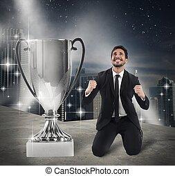Winner businessman exult - Businessman kneeling exult in...