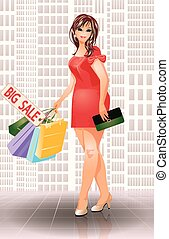Plus size shopping fashion woman, vector illustration