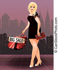 Plus size shopping girl vector