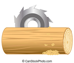 Processing log - Industrial processing log by disc sawVector...