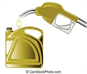 Fuel benzine - Leading-in gun and tank on white background...